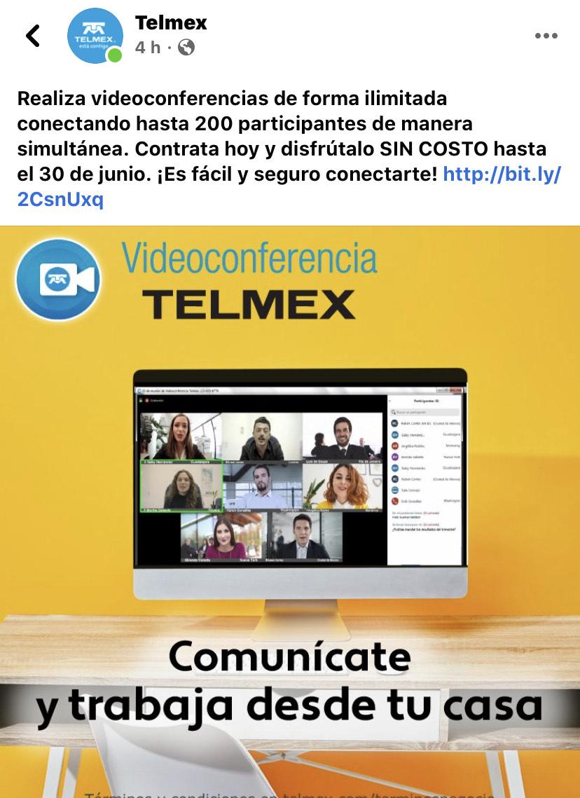 Video conferencia Telmex gratis hasta el 30 de Junio