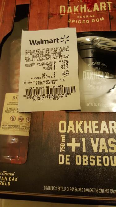 Walmart: Bacardí Oakheart + vaso a $75.02