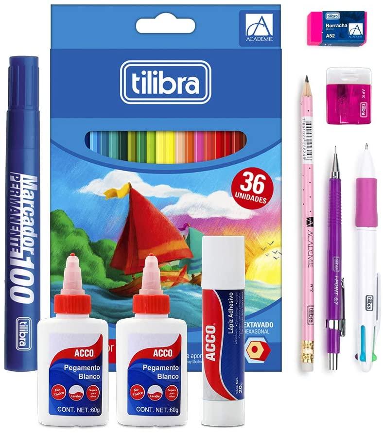 Amazon: Pack escolar de escritura (36 lapices de colores +pegamentos y otros articulos)