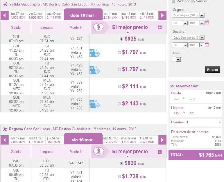 Volaris: ofertas del DF y GDL. Ejemplos redondo a Los Cabos $1,765 y a Cancún $2,518