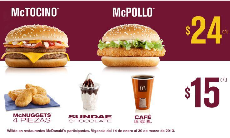 McDonald's: McPollo o McTocino a $24 y más