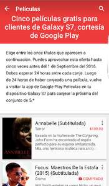 Google Play: 5 peliculas Gratis para usuarios de Galaxy S7