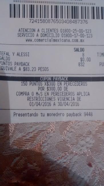 Comercial Mexicana Xalapa: 150 puntos en Monedero Naranja por cada $300 de compra en perecederos