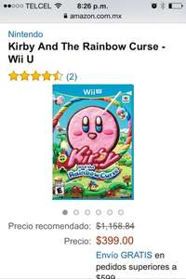 Amazon: Kirby and The rainbow curse para Wii U a $399