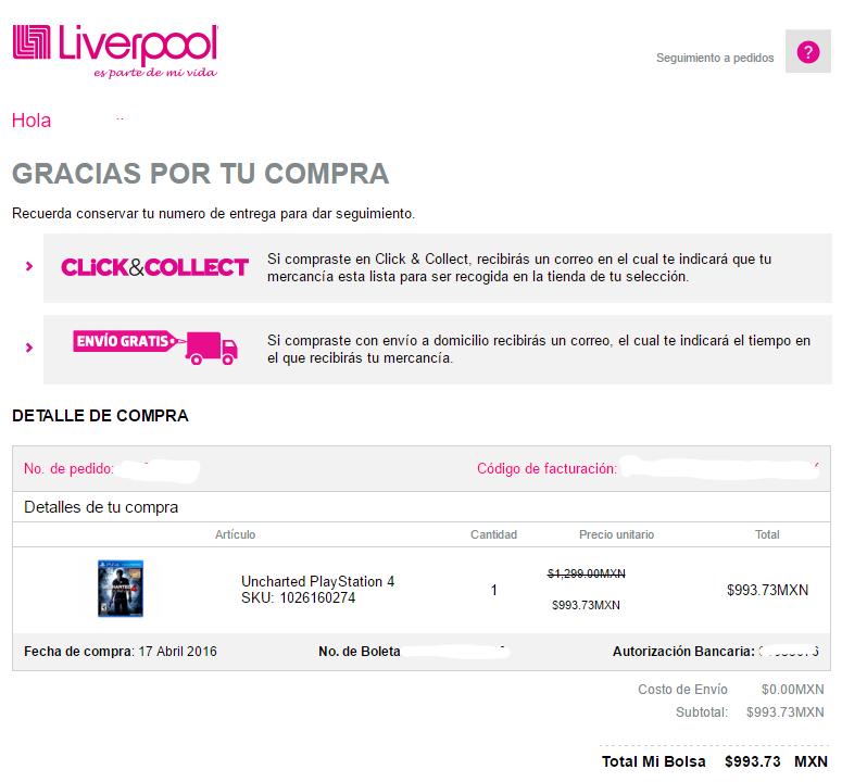 Livepool en línea: Uncharted 4 para PS4 a $1,104