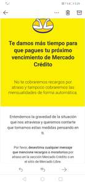Mercado crédito sin recargos por atraso