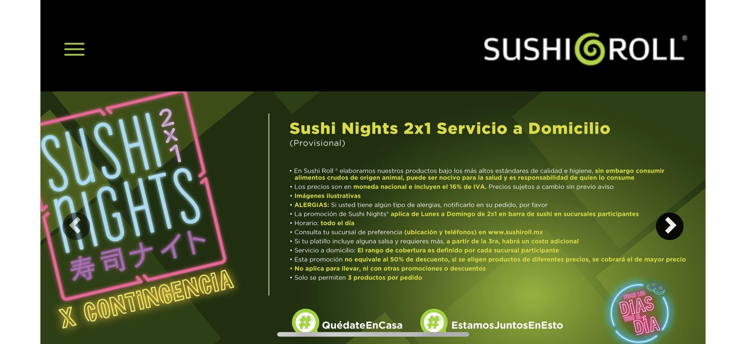 Sushi Roll: 2x1 todo el día, toda la semana, a domicilio