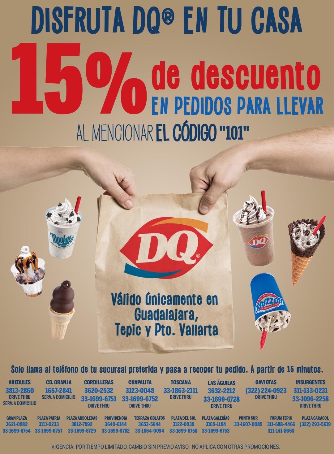 Dairy Queen: 15% de descuento en pedidos para llevar
