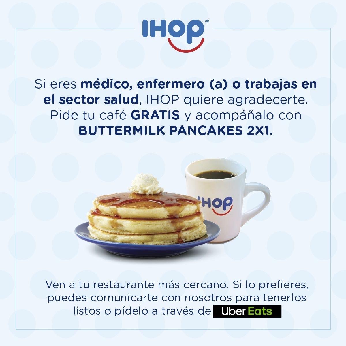 IHOP: Buttermilk Pancakes 2x1 y Café Gratis