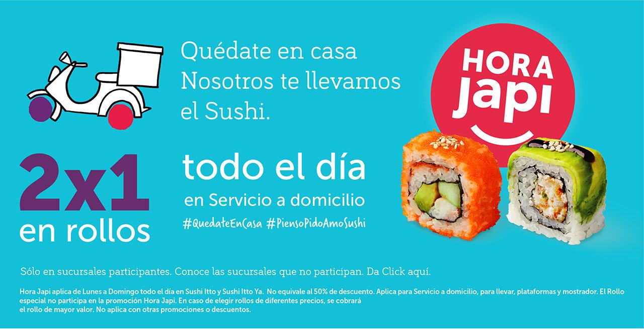 2 x 1 en rollos de Sushi Itto todo el día en servicio a domicilio