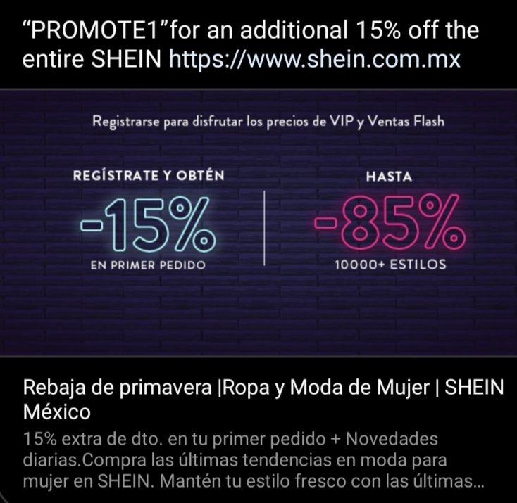 SHEIN 15% DESCUENTO SIN MÍNIMO (primer pedido)