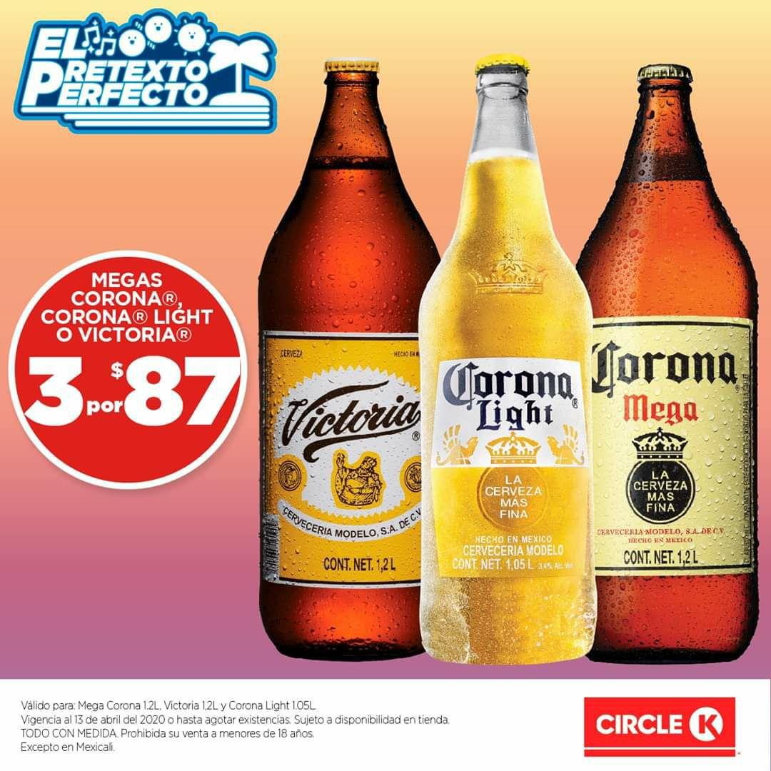 Circle K: 3 megas coronas ligth, obscura o victoria y más cervezas a buen precio