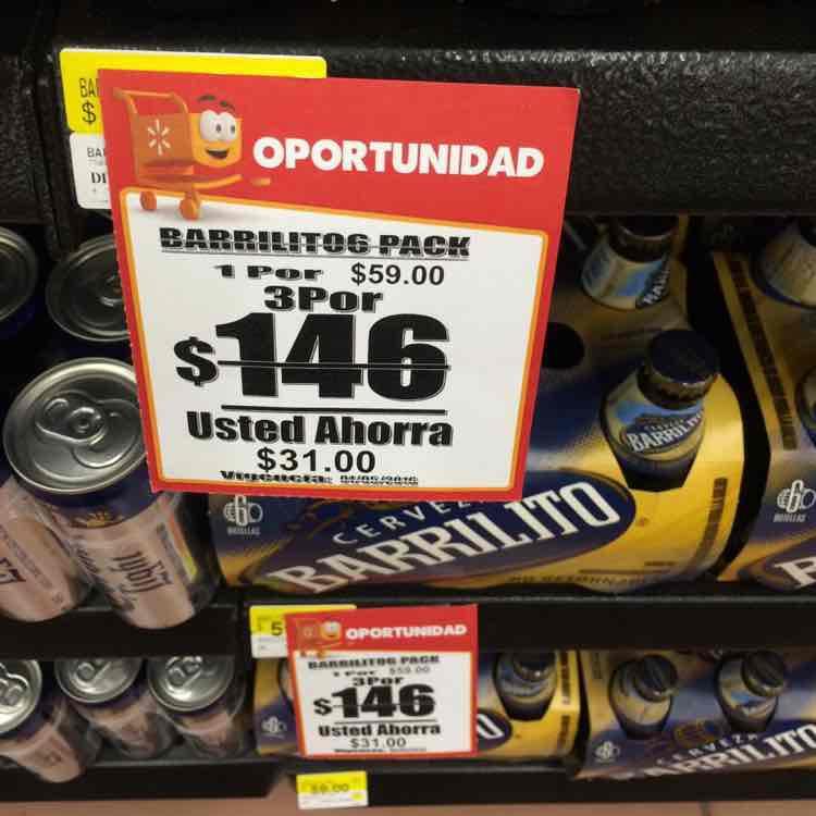 Walmart: 3 six pack de Cerveza Barrilito a $146