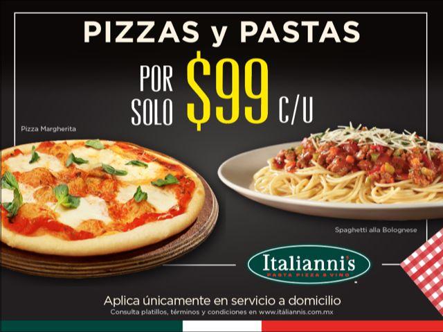 Promoción Italianni's: Pizzas y pastas a sólo $99 en servicio para llevar