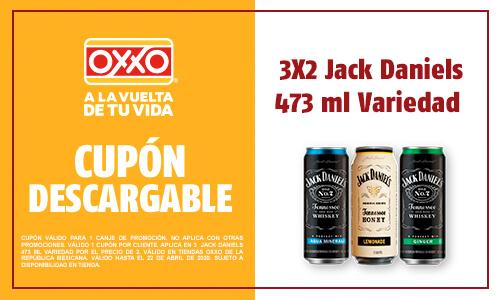 Oxxo: Cupón 3x2 en Jack Daniel's
