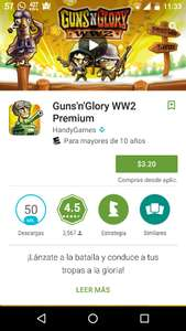 Google Play: Guns'n Glory WW2 Premium a $3