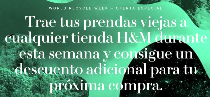 H&M: dos cupones de 15% de descuento reciclando ropa