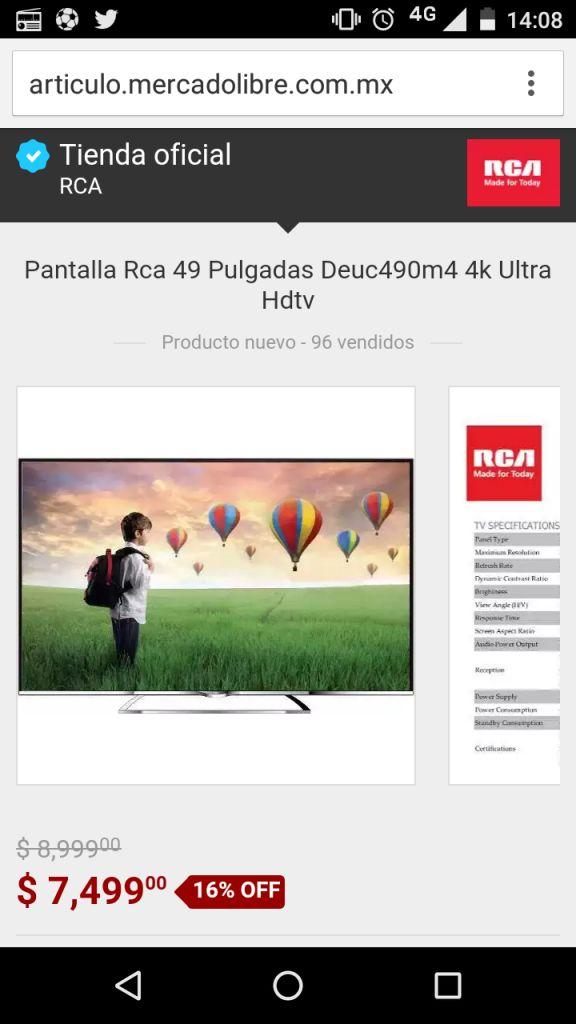 """Mercado Libre RCA oficial: Pantalla RCA 49"""" 4k Ultra HD Modelo DEUC490M4 a $7,499"""