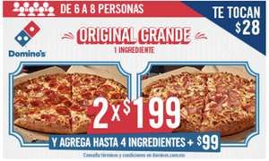 Domino's Pizza: 2 pizzas grandes 1 ingrediente por $199 (Solo CDMX)