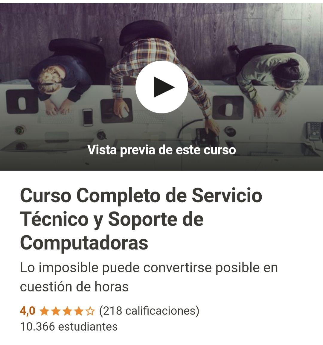 Udemy: Curso Completo de Servicio Técnico y Soporte de Computadoras