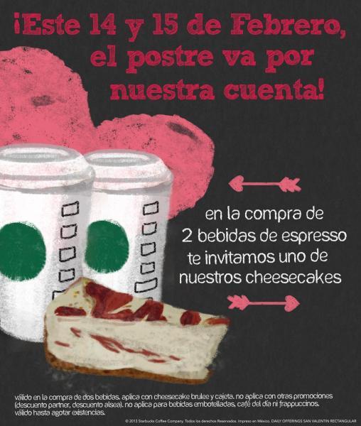 Starbucks: Cheesecake gratis al comprar 2 bebidas