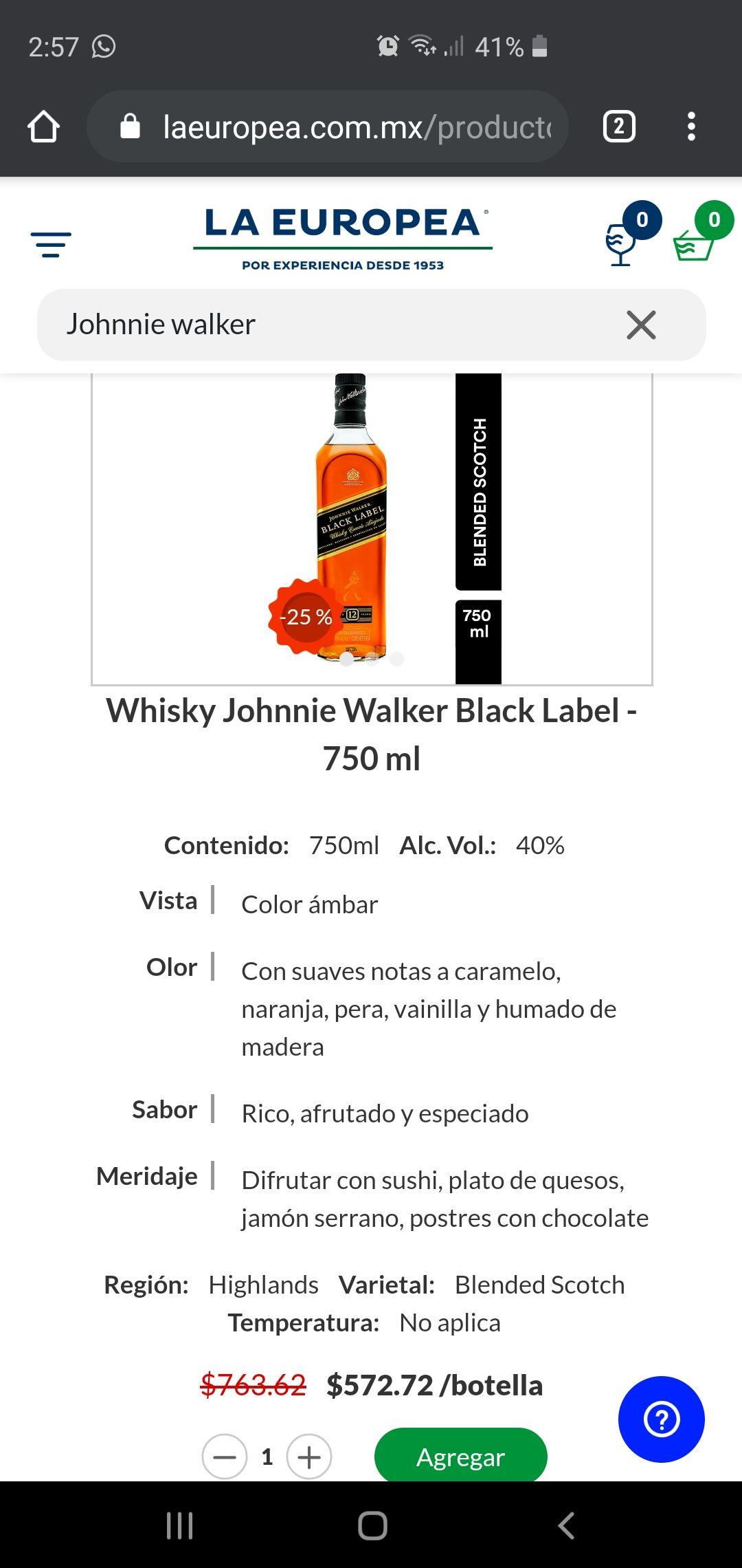 La Europea Johnnie walker black label