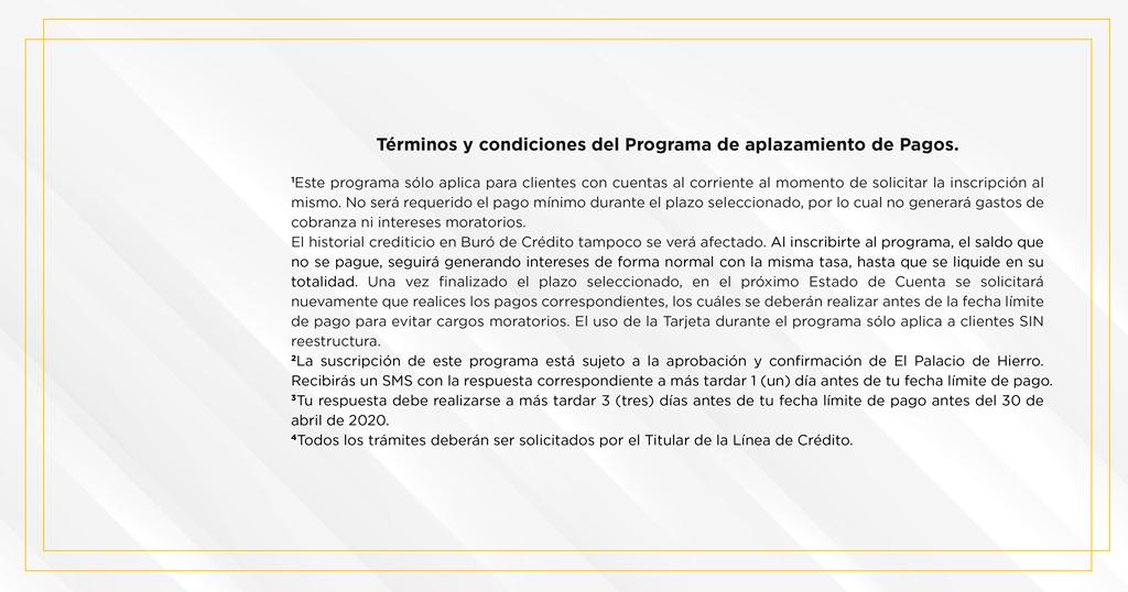 Tarjeta Palacio de Hierro: Aplaza pagos por 4 meses
