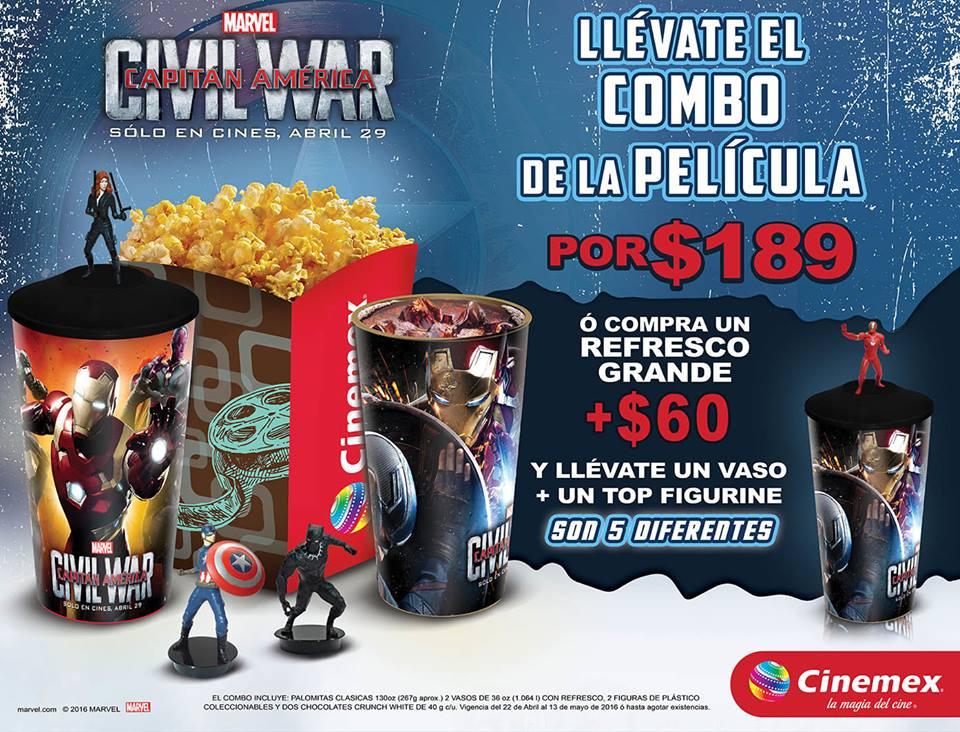 Cinemex: Combo Civil War 2 refrescos grandes mas palomitas mas 2 chocolates crunch por $189