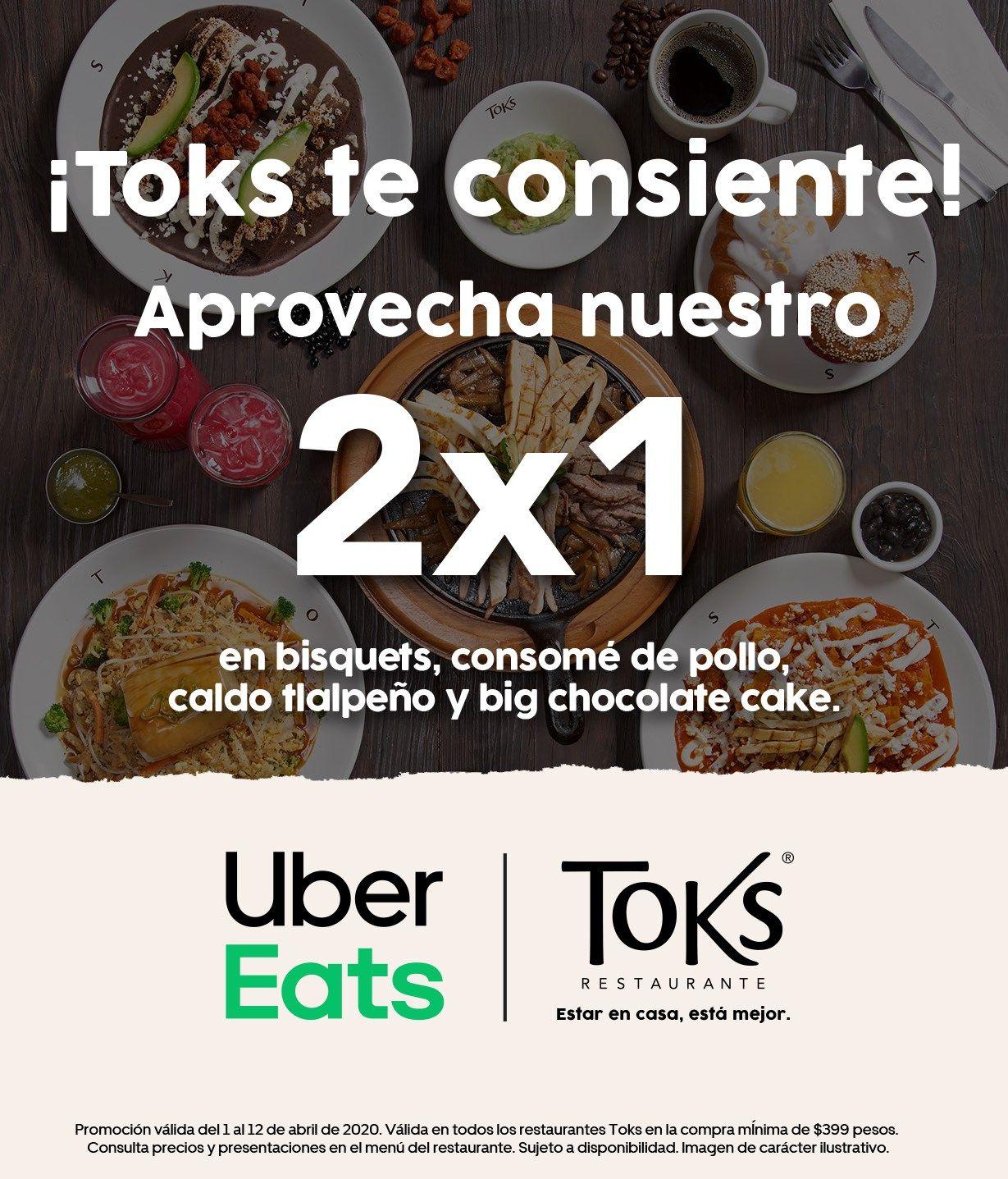 Promoción Toks Uber Eats: 2×1 en platillos participantes