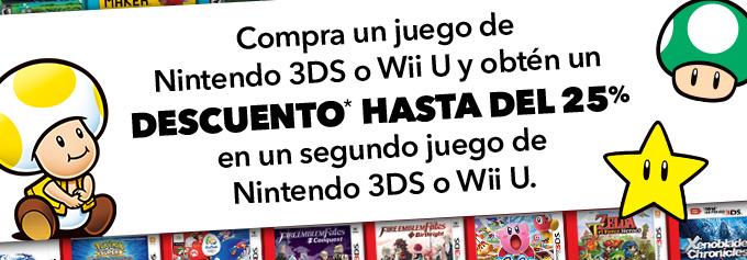 Nintendo varias tiendas: Hasta 25% de descuento comprando un segundo juego.