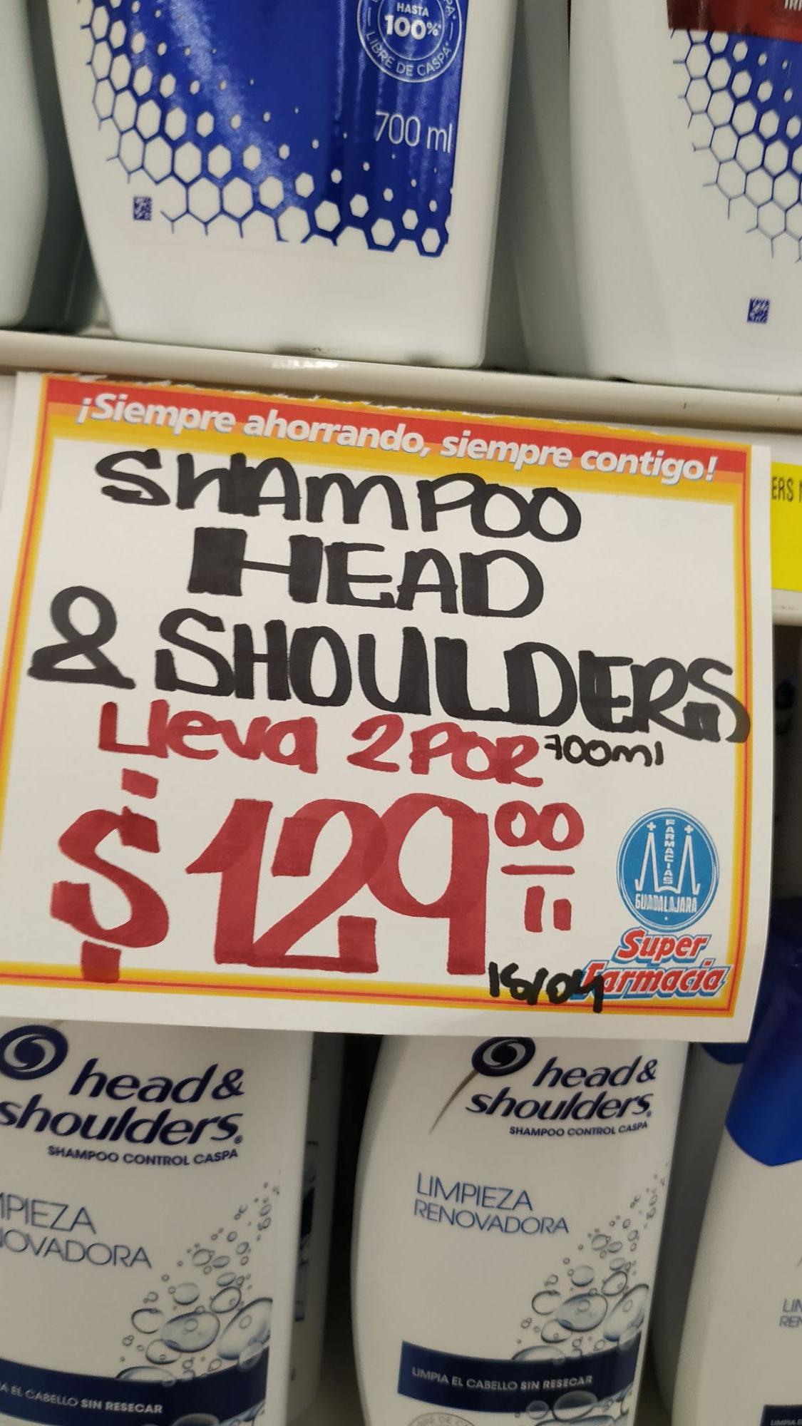 Farmacias Guadalajara: Shampoo Head & Shoulders 2x $129