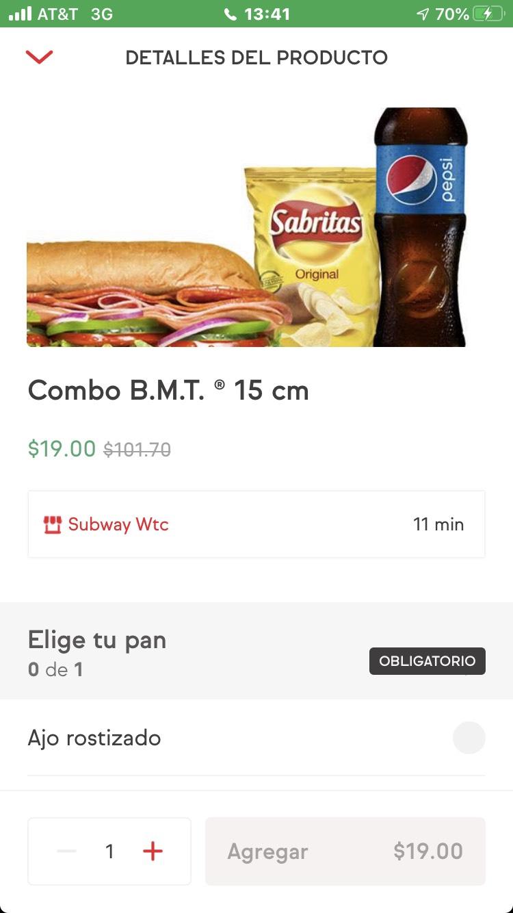 Sin Delantal y Subway WTC: Combo BMT