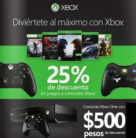 25% de descuento o más en juegos y controles para Xbox One y 360 (control One desde $611)