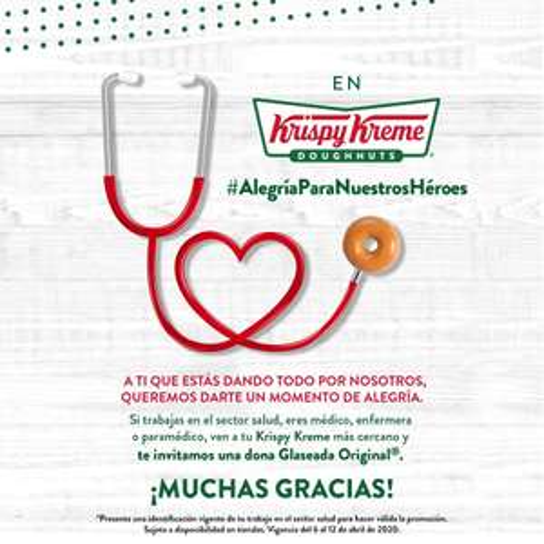 Krispy Kreme: Dona Glaseada Original Gratis si trabajas en el Sector Salud