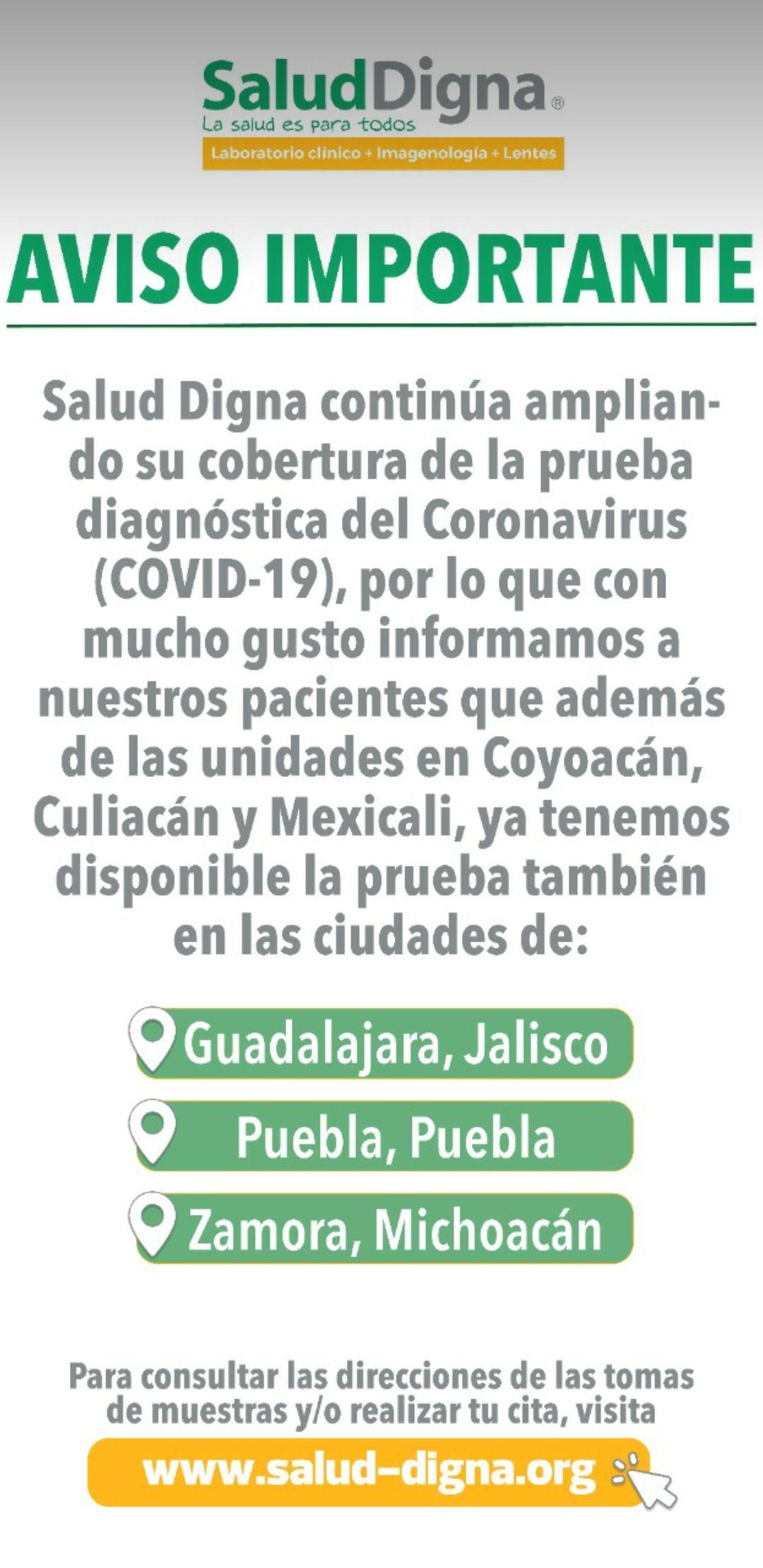 Salud Digna: Prueba diagnóstica para COVID-19 en coyoacan cdmx y Culiacán Sinaloa en 1300 pesos