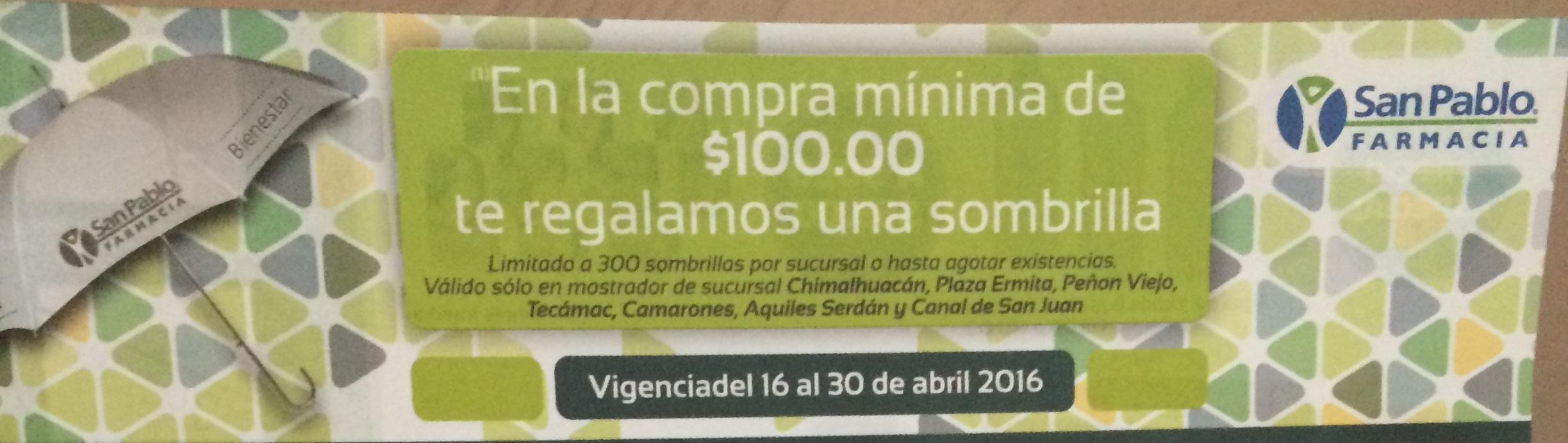 Farmacia San Pablo: sombrilla gratis en la compra mínima de $100 pesos
