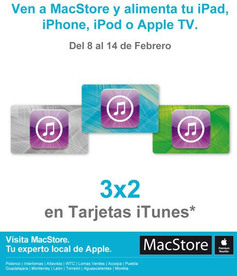 MacStore: 3x2 en tarjetas iTunes