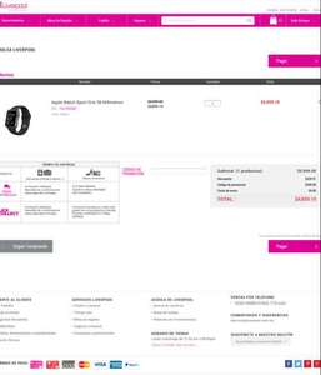 Liverpool en línea: Apple Watch Gris de 38mm $5,399 ($4,860 con cupón)