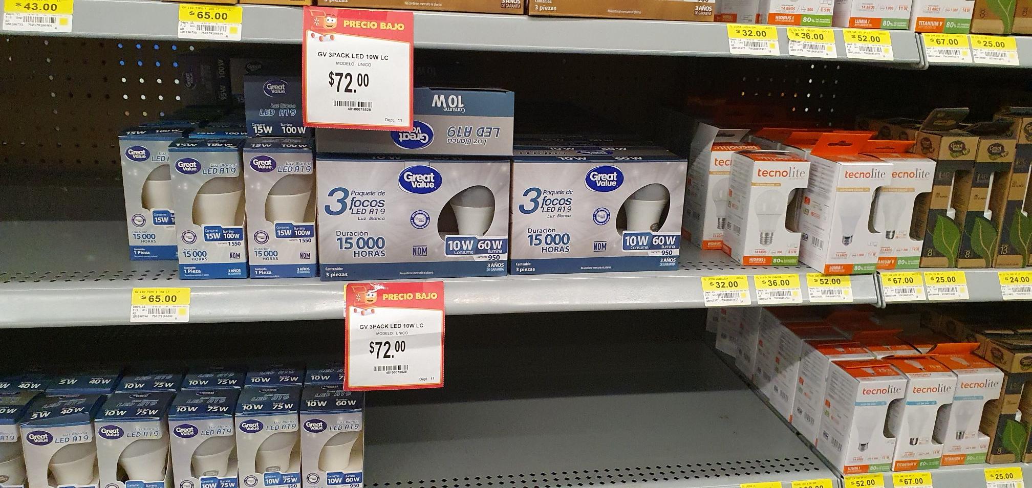 Walmart: 3 focos led | Great Value 950 lumens
