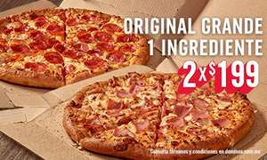 Domino's Pizza: 2 Pizzas de 1 ingrediente por $199 y $298 por 2 pizzas de 4 ingredientes