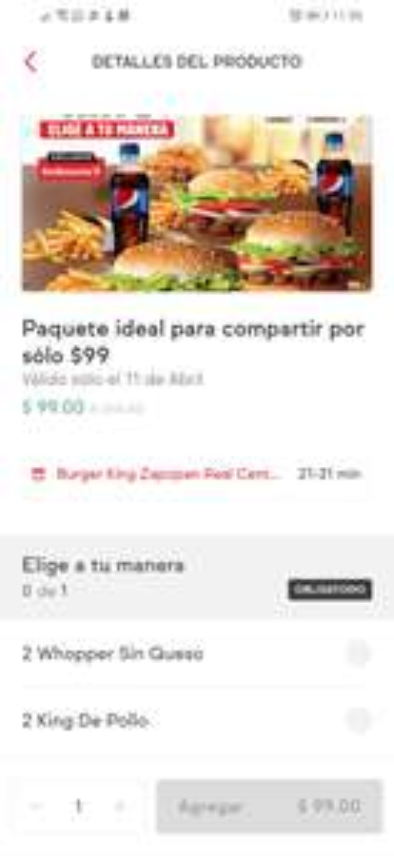 Sin Delantal: Burger King Paquete Ideal Para Compartir a $99