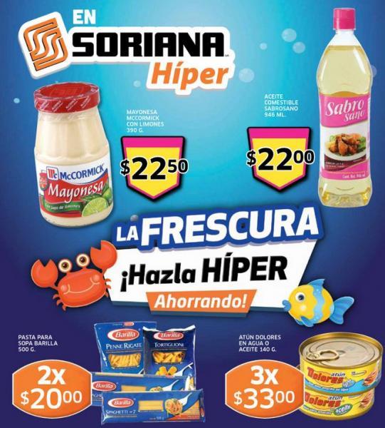 Folleto Soriana: 2x1 en chocolates Hershey's, 20% en dinero electrónico en celulares Telcel y +