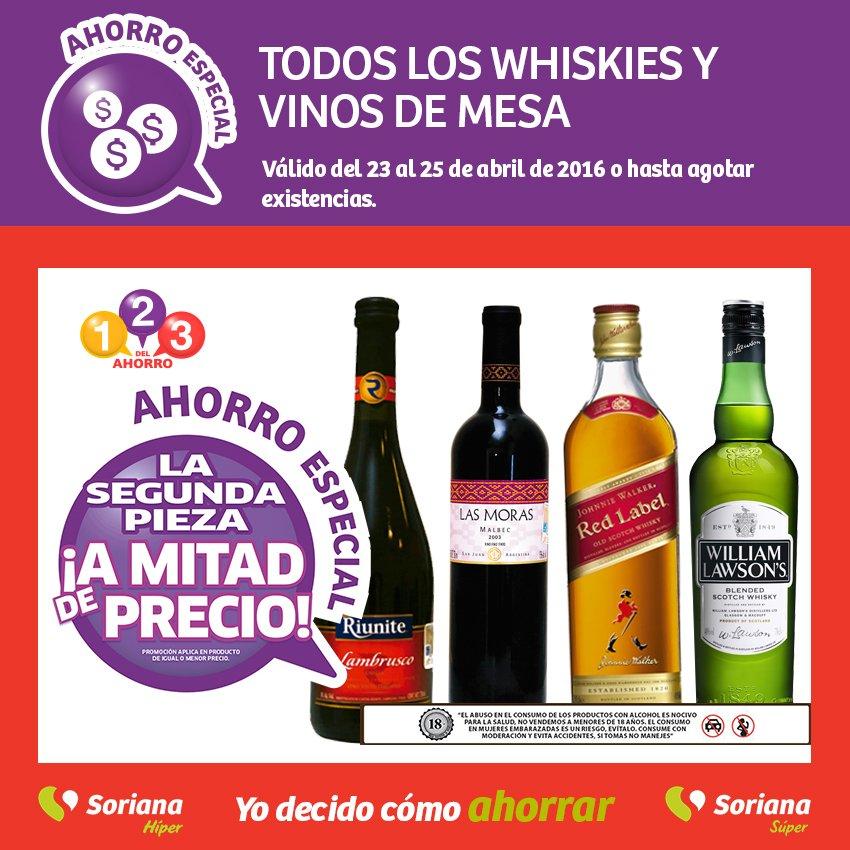 Soriana: 2x1 y medio en todos los Whiskies y vinos de mesa