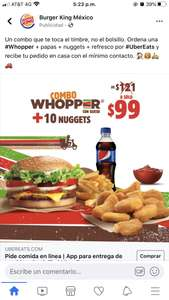 Uber eats: Burger King Combo whopper con queso + 10 nuggets