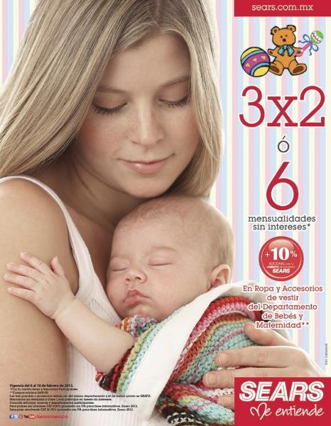 Sears: 3x2 en ropa y accesorios del departamento de bebés y maternidad