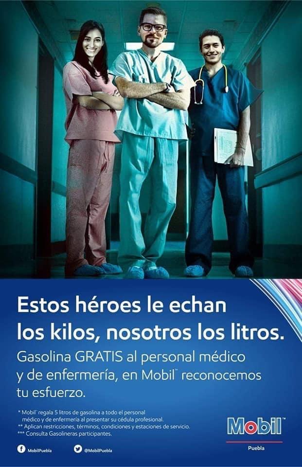 5 litros Gasolina MOBIL GRATIS en Puebla a Médicos y enfermeras.
