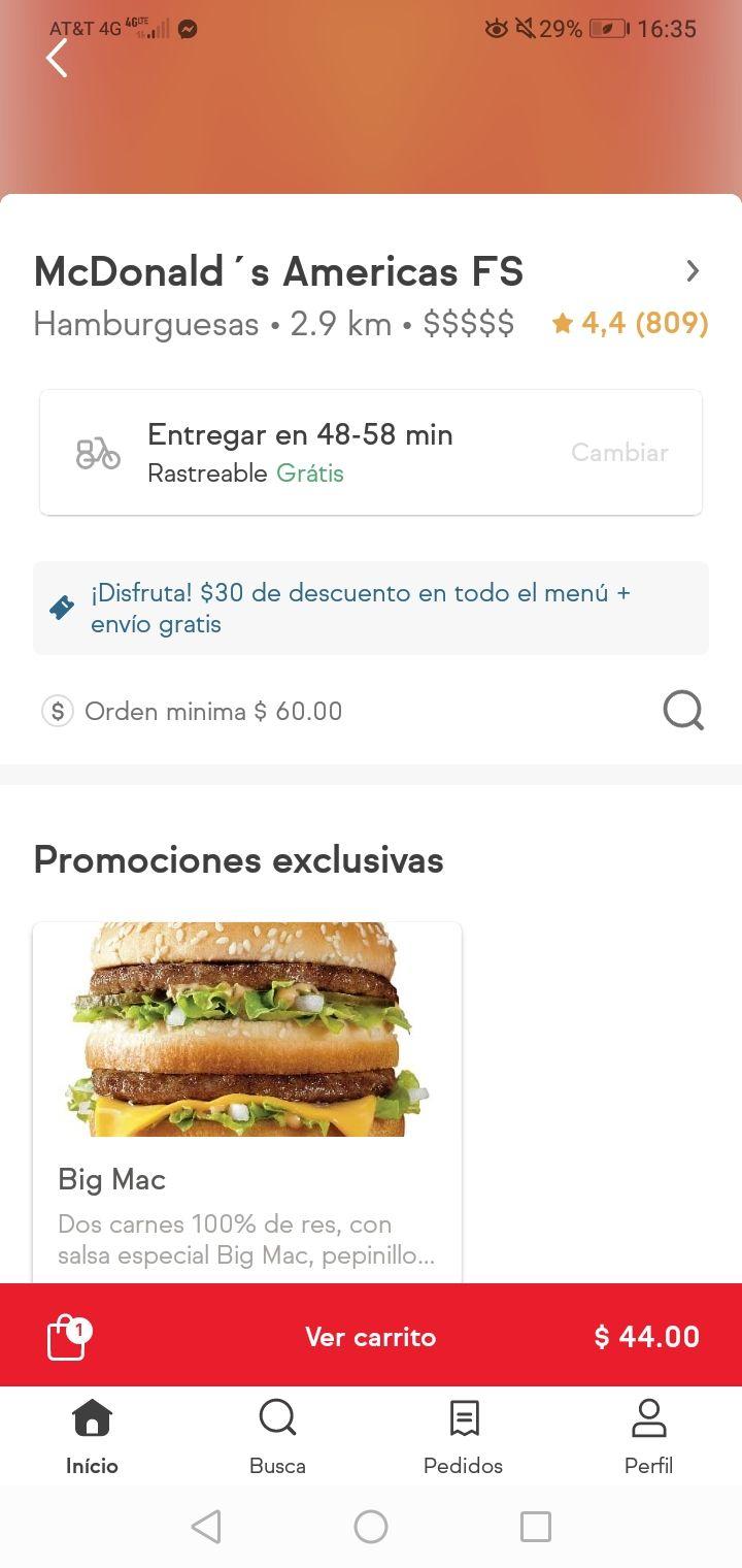 30 pesos de descuento en McDonalds y envío gratis en sin delantal