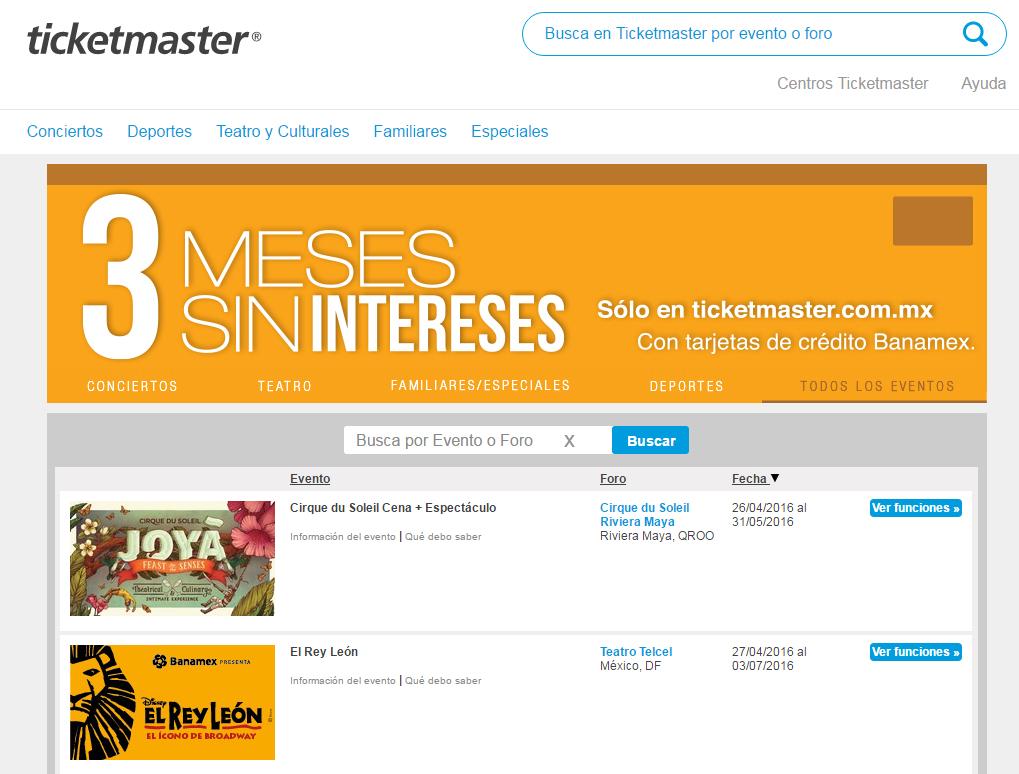 Ticketmaster: 3 meses sin intereses pagando con Banamex
