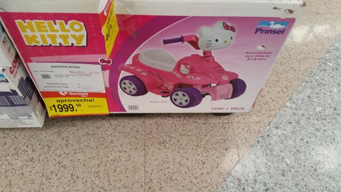 Soriana: montables eléctricos con 40% de descuento, ejemplo: montable Hello Kitty a $1,990