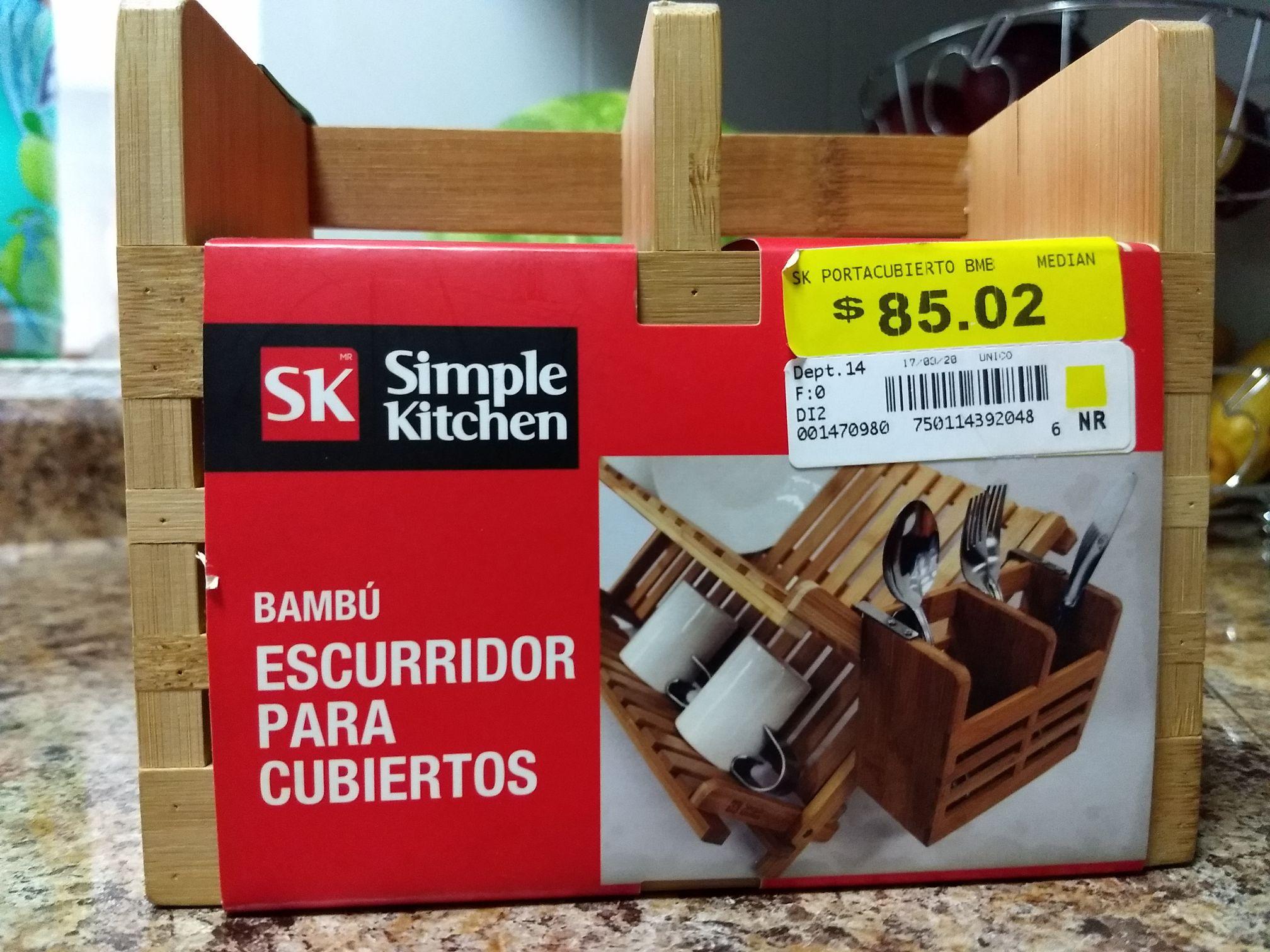 Walmart: Escurridor para cubiertos de Bambú Simple Kitchen